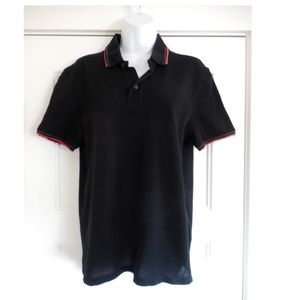 $490~GUCCI~Polo Shirt~Red & Green Web Stripe Trim